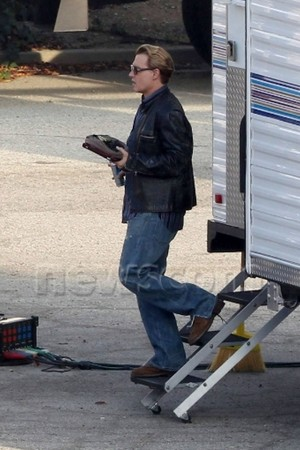Johnny filming Mortdecai, in Los Angeles (Jan 2014)