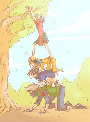 Kakashi, Sasuke, naruto and Sakura