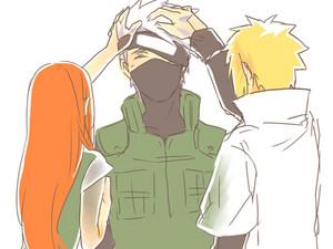 Kakashi, Minato and Kushina