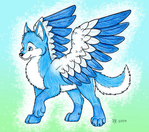 Dog with wings drawing