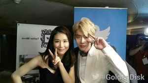Lee Jong Suk with Lee Bo Young @28th Golden Disk Awards