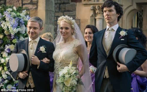Mary Morstan Watson wallpaper containing a business suit and a bridesmaid titled Mary, John and Sherlock