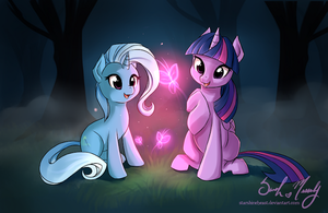 Trixie and Twilight Sparkle Watching Butterflie