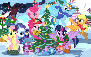 The Mane 6 Decorating a 木, ツリー