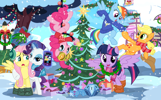 The Mane 6 Decorating a Tree