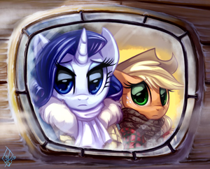 Rarity and applejack Looking out a Window