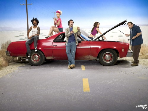 My Name is Earl wallpaper possibly with a minicar titled My Name is Earl Cast Promoshoot [Season 4]