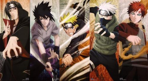 Naruto karatasi la kupamba ukuta probably containing anime entitled Itachi, Sasuke, Naruto, Kakashi and Gaara