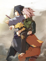 Naruto, Sasuke and Sakura - naruto fan art