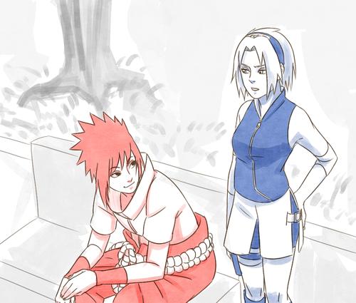 Naruto achtergrond possibly with anime titled Sasuke and Sakura