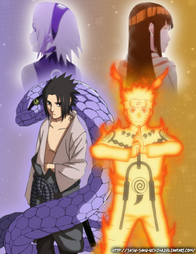 Naruto achtergrond with anime titled Sasuke and Sakura, Naruto and Hinata