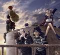 Shikamaru, Temari, Kiba, Akamaru, Choji, Gaara and Rock Lee