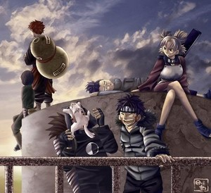 Shikamaru, Temari, Kiba, Akamaru, Choji, Gaara and Rock Lee