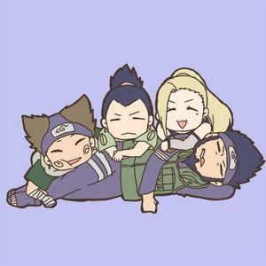 Asuma Sensei, Choji, Shikamaru and Ino