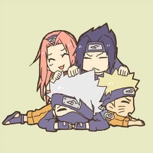 카카시 선생님 Sensei, Sakura, 나루토 and Sasuke