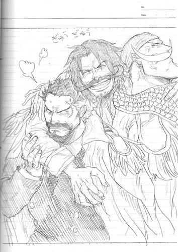 One Piece karatasi la kupamba ukuta possibly containing anime titled Old Marafiki