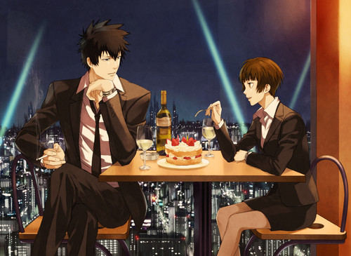 Psycho-Pass 壁紙 possibly containing a コンサート entitled Shinya and Akane