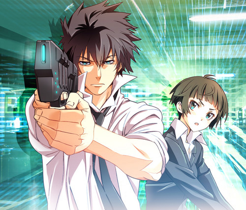 Psycho-Pass 壁紙 probably containing アニメ called Shinya and Akane