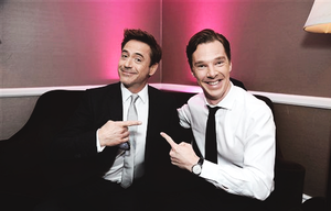 Robert Downey Jr. and Benedict Cumberbatch at the 25th annual Producers Guild of America