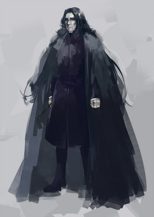 snape with long hair