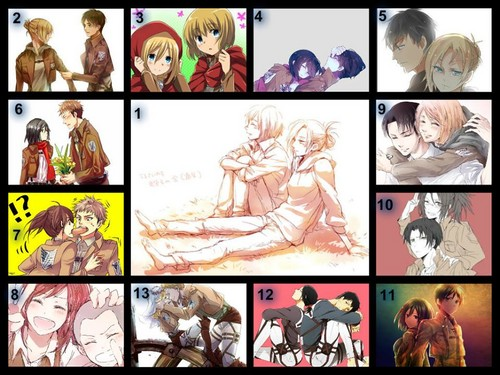 Shingeki no Kyojin (Attack on titan) wallpaper probably containing anime entitled All possible Couples!! (no yaoi)