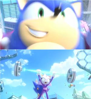 Sonic swinging on Blaze
