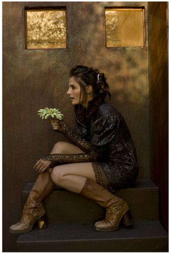 Stana Katic achtergrond probably containing a sign and a hip boot called Stana Katic
