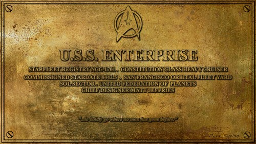 bintang Trek The Original Series kertas dinding titled USS Enterprise Dedication Plaque