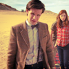The Eleventh Doctor photo possibly with a business suit, a sunset, and a three piece suit titled > eleven <
