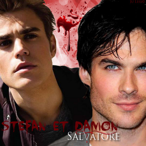 the vampire diaries wallpaper probably with a portrait called Stephen and Damon Salvatore