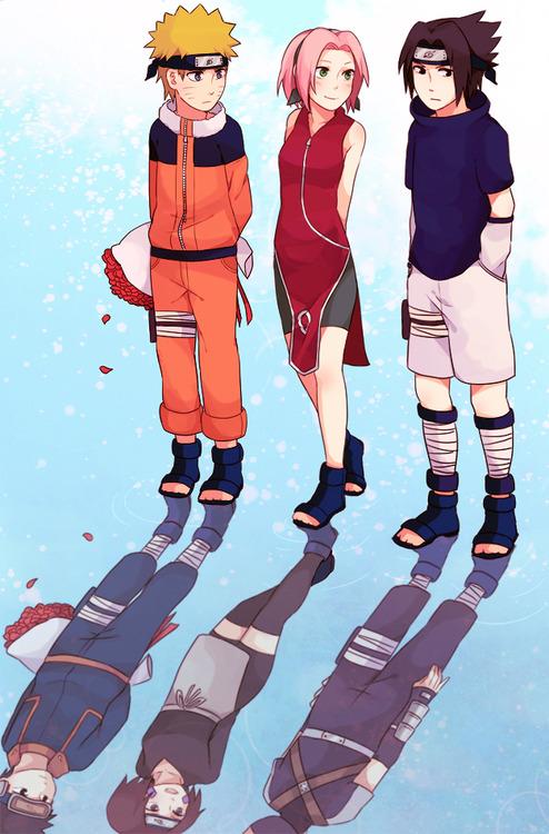 Sasuke, Naruto and Sakura vs Obito, Rin and Kakashi