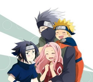 Sasuke, Naruto and Sakura and Kakashi