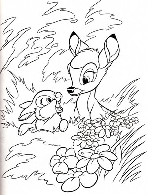 Walt Disney Coloring Pages - Thumper & Bambi