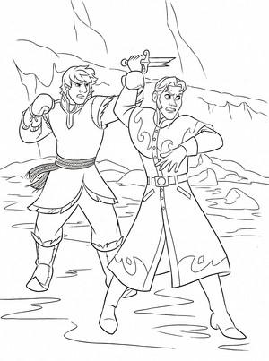 Walt ディズニー Coloring Pages - Kristoff Bjorgman & Prince Hans Westerguard