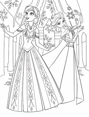Walt ডিজনি Coloring Pages - Princess Anna & কুইন Elsa