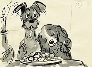 Walt disney Sketches - The Tramp & Lady