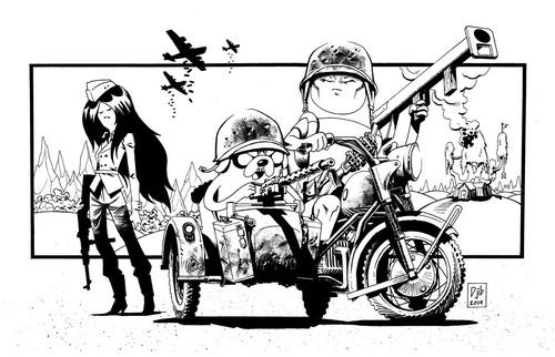 ফিন ও জ্যাকের সাথে অ্যাডভেঞ্চার টাইম দেওয়ালপত্র probably with a রাস্তা and জীবন্ত called Badass Adventure Time