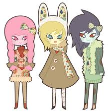 Fiona, Princess Bubblegum and marceline in winter cloth