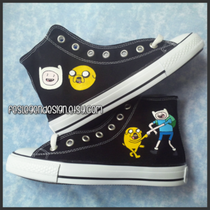 Finn and Jake Painted Shoes / Adventure Time / Custom converse