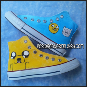 Adventure Time Painted Shoes / Finn and Jake / Custom কনভার্স