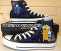 Adventure Time Doctor Who Custom Converse / Painted Shoes - adventure-time-with-finn-and-jake fan art