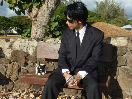 Men in Black fond d'écran with a business suit and a suit titled Agent G and Frank the Pug