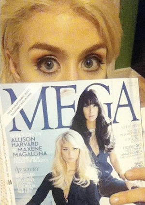 Allison with her cover on mega magazine