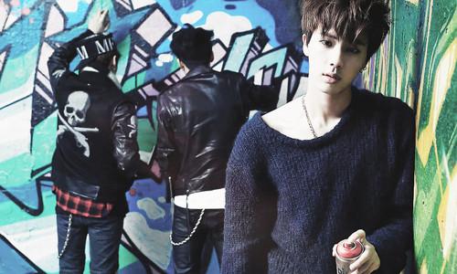 "bangtan boys wallpaper probably containing a sign entitled Bangtan Boys Jin ""Skool Luv Affair""!"
