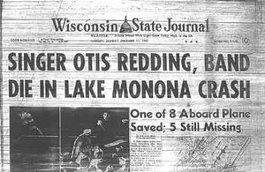 Newspaper Headline Pertaining To The Plane Crash That Claimed The Life Of Otis Redding
