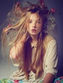 Flowers in hair - daydreaming photo