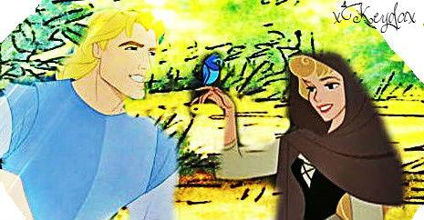 ディズニー Princess Crossover 壁紙 containing アニメ titled John Smith and Aurora.