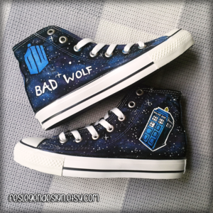 Bad serigala, wolf Dr Who Custom Converse / DW