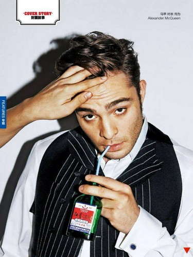 Ed Westwick Hintergrund containing a business suit titled GQ China Mag