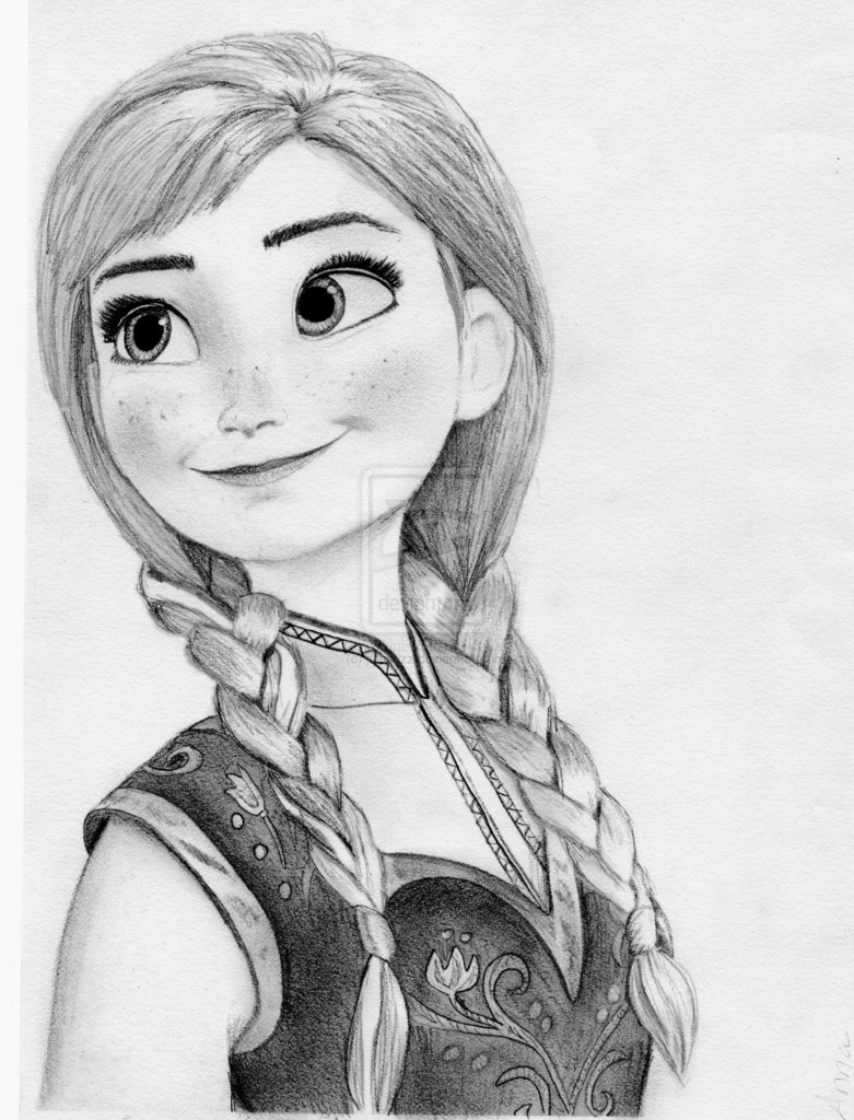 drawn Anna - Elsa and Anna club (frozen) Photo (36576389 ...